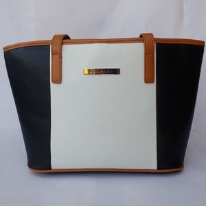 🆕 Silpada Black White Tan Trim Handbag Tote Rare
